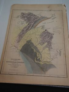 Antique Map Geological Map Of Parts Of Minnesota And Wisconsin Designed To Show