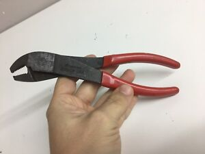 Snap On 208acp Battery Cable Clamp Terminal Pliers Red Vinyl Grip Usa