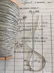 4 Yd Vintage Antique French Silver Metallic Beadette Cord Trim 1 16 Lampshade