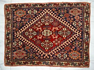 Exquisite Old Or Antique Persian Blue Ground Mat Rug 25 5 X 18 75 Inches