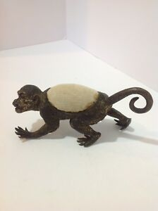Vienna Bronze Figual Monkey Pin Cushion Antique Cold Painted Austria