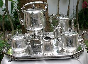 Antique Victorian Sterling Silver Five Piece Tea Coffee Set 1858 Plus Plate Tray