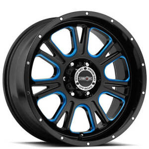 4rims 17 Vision Wheels 399 Fury Gloss Black Milled With Blue Accents Off Road
