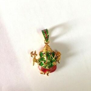 Pendant Ganesh Murti Om Lord Hindu God Idol Old Buddha Amulet Success Money Gold