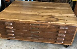 Vintage Wooden Hamilton Flat File Cabinet Oak Map Blueprint Artwork