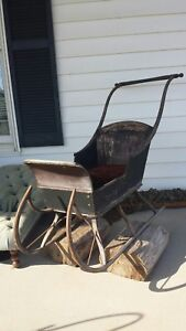 Antique German Child Pull Sleigh Snow Sled Wood Metal Painted Black Red Seat