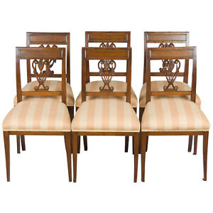 Set Of 6 Six Biedermeier Style Dining Room Kitchen Chairs Oak And Brass Side