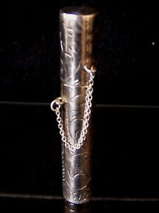 Antique Sterling Silver 925 Toothpick Holder Etched Design