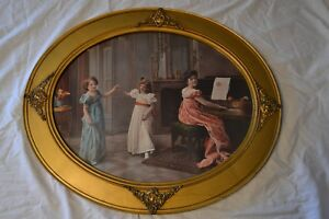 Large Victorian Era Print Gold Gilt Ormolu Accent Oval Wood Picture Frame 25x21