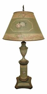 F46749ec French Style Toleware Decorated Lamp W Shade