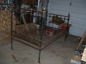 Vintage Antique Wrought Iron Bed Original Some Brass