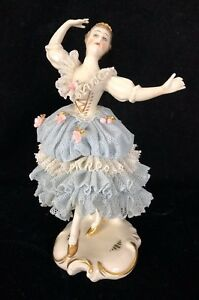 Antique 4 5 German Porcelain Lace Figurine Dancer Ballerina Blue Dresden Mark