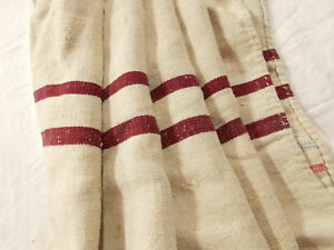 Vtg Antique Dark Burgandy Stripe French Hemp Linen Fabric Feed Sack Grain Bag