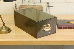 Vintage Library Index Card Catalog Drawer Steel File Box Library Green Cabinet