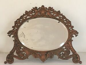 Antique Victorian Cast Iron Cherub Vanity Desk Mirror Stand Oval Beveled Glass