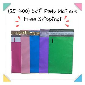 25 400 Pack 6x9 Mixed Color Designer Poly Mailers free Shipping