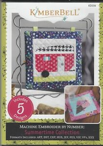 Kimberbell Summertime Collection Flag Ice Cream Trailer Boat Machine Embroidery