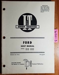 Ford I t 8000 9000 8600 9600 Tractor Shop Service Manual Fo 32 1976