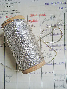 4 Yd Vintage Antique French Silver Metallic Rope Cord Trim 1 32 Lampshade