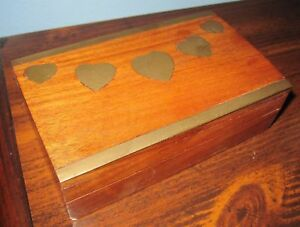 Vintage Wood Trinket Box Inlay Brass Hearts Made In India Box Concepts Inc