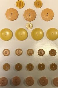 T632 Vtg Antique Button Celluloid Bakelite Lot Of 25 On Card Textured Carved Tan