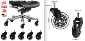 3 Office Chair Replacement Swivel Caster Wheels Kit 5 Pack Black And Clear New