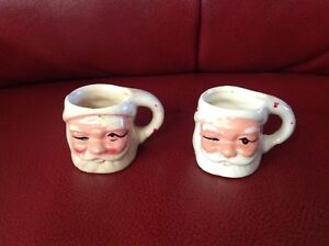 Small Antique Santa Cups Stamped Taiwan