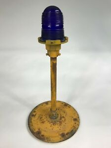 Vintage Blue Airport Taxi Light Crouse hinds With Stand