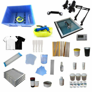 Full Set 4 Color Silk Screen Printing Press Materials Kit Screen Printing Supply