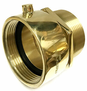2 1 2 Female Nst nh X Male Npt Hydrant Swivel Brass Adapter Snoot Polish Brass