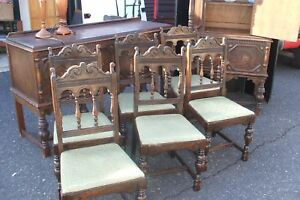 6 Oak Dining Chairs Antique Aesthetic Movement Refectory Spanish Mission Antique