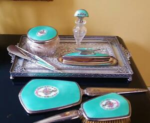 C1925 F B Sterling Silver Turquoise Guilloche 8 Pc Vanity Set Perfume Bottle