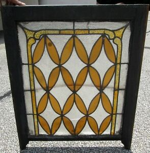 Fine Antique Stained Frosted Glass Window In Nice Size Old Frame Estate 259