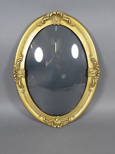 Vintage Gold Oval Convex Glass Wooden Picture Frame 20 X 14