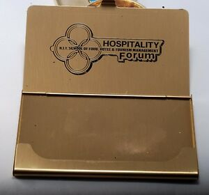 Rare rit School Of Food Hotel Gold Tone Business credit Card Holder Case Nos