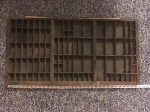 Vintage Antique Typeset Drawer Printing Press Shadow Box 89 Squares 32 25 X16 5
