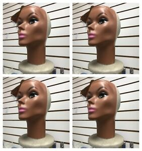 4x Female Styrofoam Head Plastic Face With Makeup Mannequin Wig Hat Head