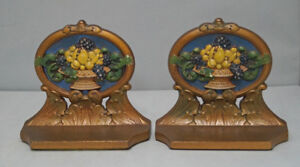 Antique Fruit In Urn Cast Iron Bookends Judd Co Cjo Circa 1920 S