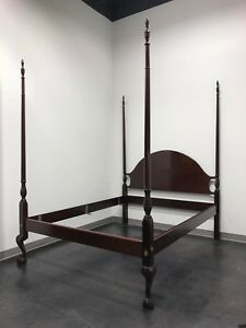 Solid Mahogany Queen Size Chippendale 4 Poster Bed W Open Talon Ball N Claw Feet