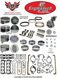 Enginetech Chevy Sbc 350 5 7 Lt1 Master Overhaul Rebuild Kit With Pistons 92 97