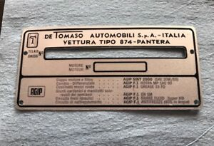 Detomaso Pantera 71 74 Vehicle Number Id Tag