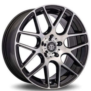 Set4 19 Staggered Curva Wheels C7 Black Machined Rims