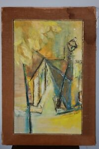 N Scott Mid Century Modern Abstract Oil Painting 1950s Modernism Vintage