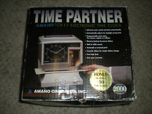 New Amano Tcx 11 Electronic Time Clock Partner Analog Dial Lcd Display