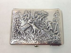 Imperial Russian Silver Cigarette Box Bears Moscow 1896 1908 Original