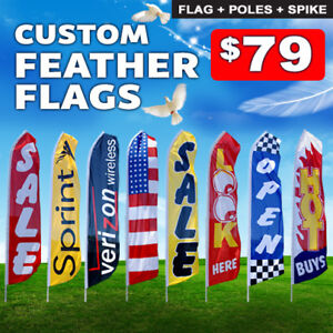 15ft Custom Single Sided Swooper Advertising Flag Feather Banner Pole Spike