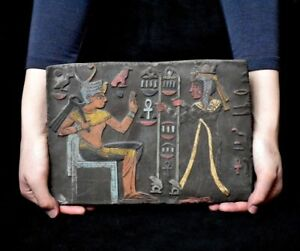 Ancient Egypt Antique Egyptian Plaque Seti I Getting Gifts Stela Relief 1323bc
