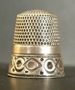 Antique Simons Bros Sterling Silver Thimble Circle Hexagon Diamond Pattern