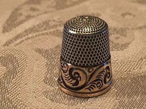Antique Simons Brothers Sterling Silver Thimble Size 9 Tooled Fern Gold Band