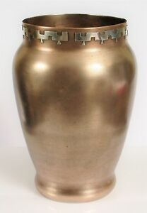 Antique Heintz Mixed Metal Sterling Silver On Bronze Vase Arts Crafts 5 5 Tall